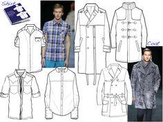 jacket, mens fashion template, fashion sketches, technic draw, flat