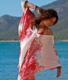 100% Silk Red Coral V neck Kaftan.