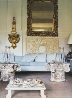 baby blue sofa