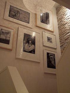 black and white photos, white on white frames