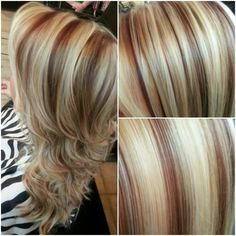 Gorgeous blonde and red highlights. A platinum blonde highlight with red lowlights. Flat iron curled. By Michelle Shahan