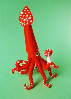 Forest Squid by Hine Mizushima, via Behance. I LOVE IT.... lo quieroooo
