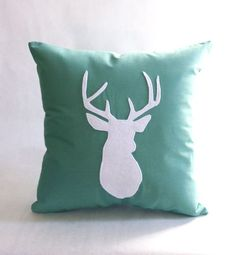 Deer Pillow  Shown in Sea Green  Decorative Pillow by regansbrain, $39.00