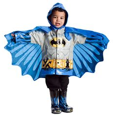 They need to make this in adult sizes...  Kids' Superhero Raincoats :: ThinkGeek