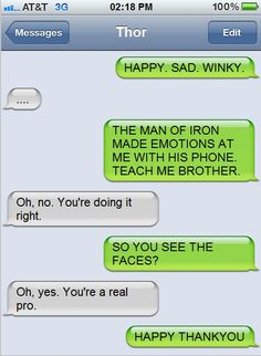 Loki got the idea for smartphones quickly. Thor is still learning. Loki is not helping.