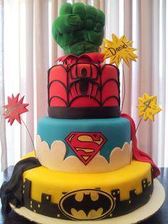 Super Hero Cake - A Birthday Boys Cake (boys cake...WHATEVER I want this!) birthday boys, birthday boy cake, boy cakes, super hero cakes, super hero birthday cake, cake boy, boys cake, superhero cake, birthday cakes
