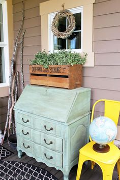 Dresser on the front porch
