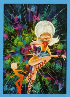 Postcard vintage 70s by Roy. Mod girl swinging on the music.