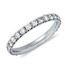 Something New, French Pavé Diamond Eternity Ring in Platinum | #BlueNile