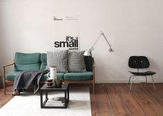 interior, living rooms, green, tiny apartments, berlin, sweet home, couches, design, minimal living
