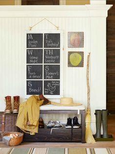 Chalkboard calendar in the mudroom