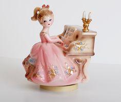 Vintage 50s Josef Originals Girl Figurine Piano Revolving Music Box
