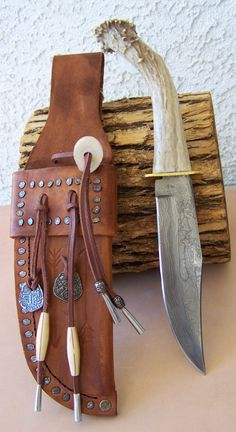 6 1/2 Damascus Bowie Knive with Polished Deer Antler Handle and Custom Leather Sheath