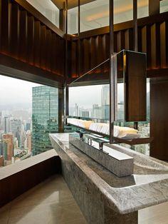 Bathroom: Café Gray Deluxe, The Upper House, Hong Kong.