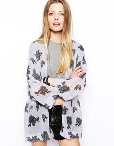 ASOS Knitted Kimono in Floral Print