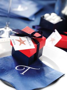 Nautical theme wedding favor box + tag