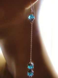 Brilliant Blue Crystal Earrings Handmade Sterling by RockinWrapper
