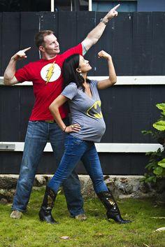 Super hero maternity photo