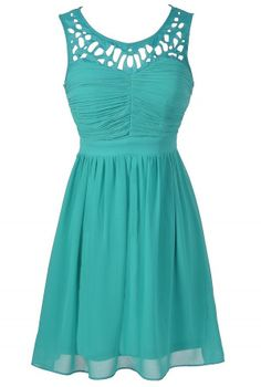 Laser Cut Chiffon Dress in Jade