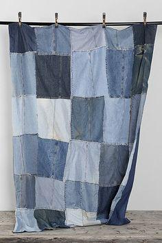 Vintage Patchwork Denim Blanket. Would also make a cute shower curtain!