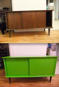 I found this old record cabinet on Kijiji/  Took out the wooden dividers, cut a hole in the bottom at one end, attached a motion sensor light, an awesome coat of latex and PRESTO.  Cat litter box cabinet!
