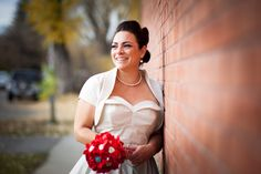 Whirling turban wedding dress, handmade bouquet