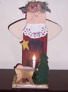 Primitive Wood Angel Light Box, Christmas Crafts (Saw this crafters work at a recent craft fair, just LOVE her stuff! MUST take a look at everything!)