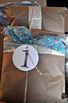 books, craigredl, brown paper packages, monogram, book pages, cushions, crafti shop, wrap packag, fabric scraps