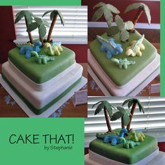 Cute double decker square dinosaur cake