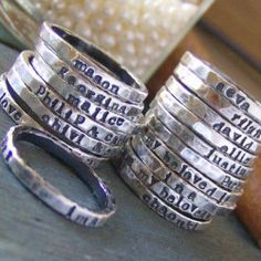 handmade stackable rings with kiddos names on them :)