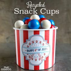 Recycled Snack Cups {Patriotic Version} @ Blissful Roots recycl snack, snack cup