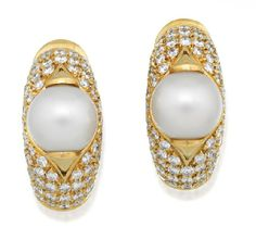 Pair of diamond and pearl 'Celtaura' earrings, Bulgari, of tapering half hoop design each centred by a cultured pearl measuring approximately 8.00mm against a ground of pave round brilliant cut diamonds mounted in 18ct gold, signed Bvlgari. Accompanied by original certificate and a Bulgari box.