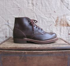 vintage 1940s deadstock brown leather work by MouseTrapVintage #vintage #menswear #boots