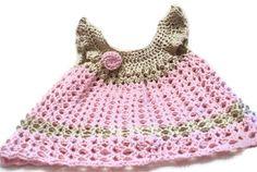 Baby Dress Pinafore   Crochet Newborn Dress   Infant by lanacooper,
