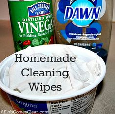 Homemade Cleaning Wipes at ASlobComesClean.com