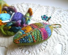 Wool Leaf Pincushion with Hand Embroidery and Emery.