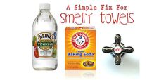 A Simple Fix For Smelly Towels Coming Out Of The Washing Machine: vinegar + baking soda + hot water!
