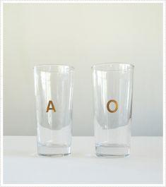 diy monogram glasses.