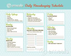good cleaning schedule from emealz