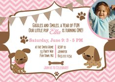 Puppy Dog First Birthday Party Invitation Printable - Puppy Girl Invitation - Chevron Girl- Pink Brown - Photo Banner Bone Paw Prints on Etsy, $14.00