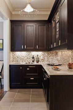 Inspiration for kitchen- dark cabinets, white counter, love the glass tile backsplash