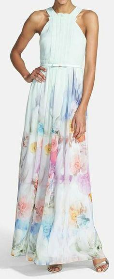 Mint floral maxi