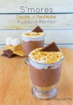 Easy and Indoor! S'mores Chocolate Marshmallow Pudding Parfait | Sassy ...
