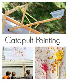 Catapult painting - fun art activity for kids