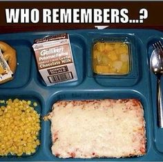 School lunch with square pizza and little milk box