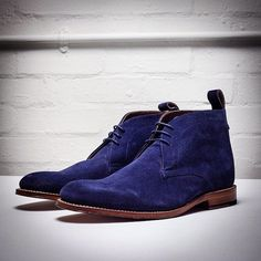 Blue Suede Marcus Chukka Boots by Grenson