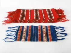 Set the Christmas Table - SET of five small table runners - handwoven red and blue napkins, Christmas decor, Christmas gift. $46.00, via Etsy.