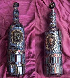 Mosaic Wine bottles - using old jewelry tiles beads or glass