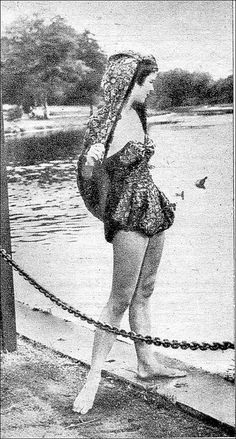 the 1940s-trendy one-piece swimsuit