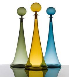 glass art, hand blown glass, glass decant, bottl, handblown glass